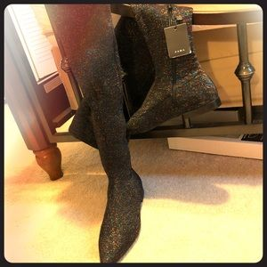 Zara Knee High Glitter Boots